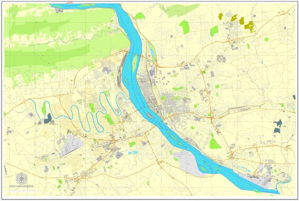 Harrisburg PDF map, Pennsylvania, US printable vector street City Plan