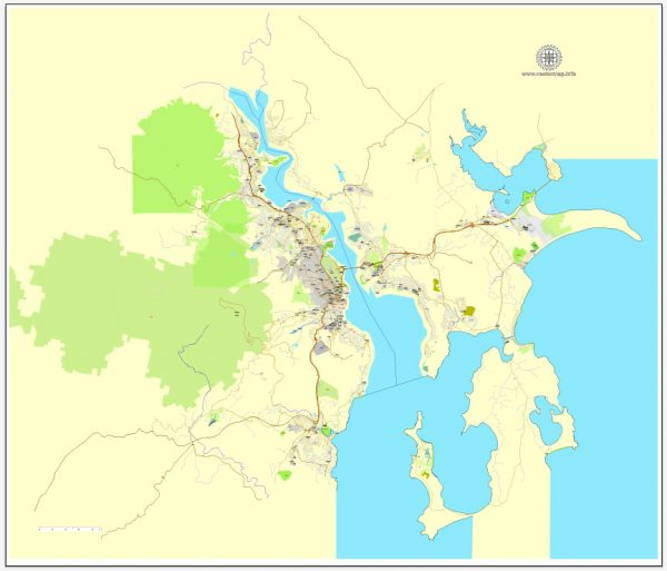 Hobart PDF map, Tasmania, Australia, printable vector street City Plan