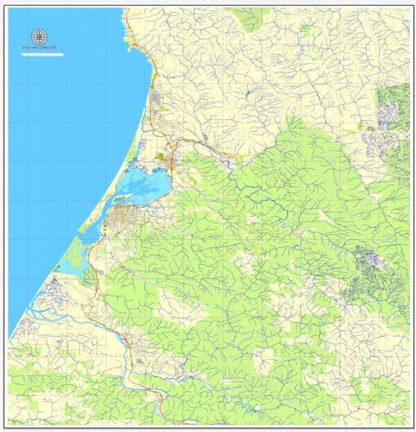 Humboldt + Eureca PDF map, California, US printable vector street City Plan