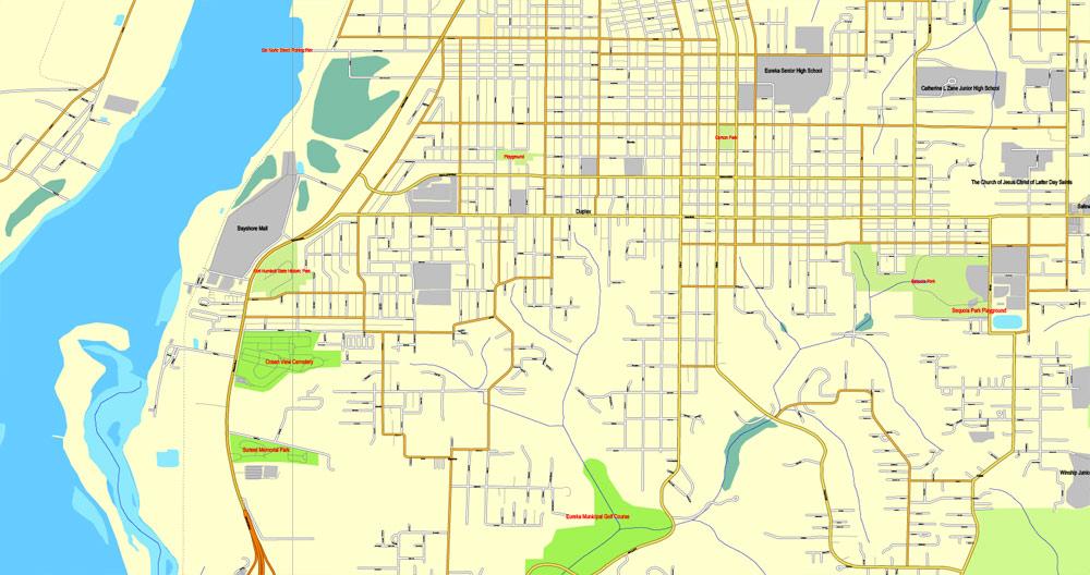 Street map Humboldt Eureca California PDF