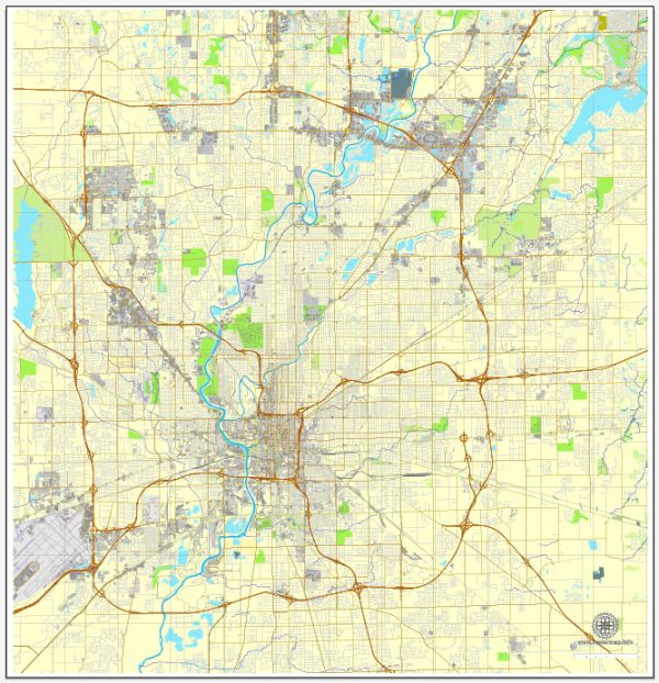 Indianapolis PDF map, Indiana, US printable vector street City Plan