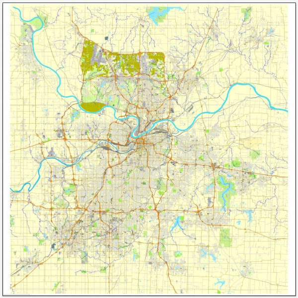 Kansas City PDF map, Missoury, US printable vector street City Plan map