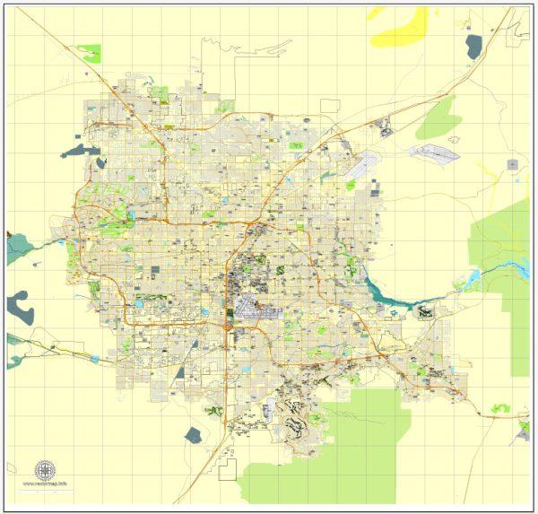 Las Vegas PDF map, Nevada, US. Vector street City Plan map, full editable, Adobe PDF, V3.10, full vector, scalable, editable, text format street names, 32 MbZIP.
