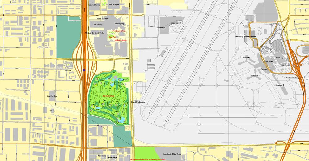 Las Vegas PDF map Nevada US printable vector City Plan editable Adobe PDF Street Map, V3.10