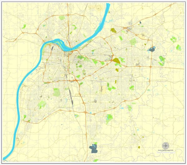 Louisville printable map, Kentucky, US, vector street City Plan map, full editable, Adobe Illustrator, V3.10, full vector, scalable, editable, text format street names, 13 Mb ZIP.