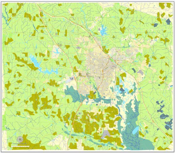 Macon PDF Map, Georgia, US, printable vector street City Plan map, fully editable, Adobe PDF, V3.10