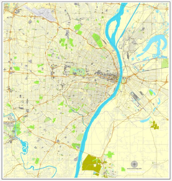 Saint Louis, Missouri, PDF editable exact map, vector street City Plan