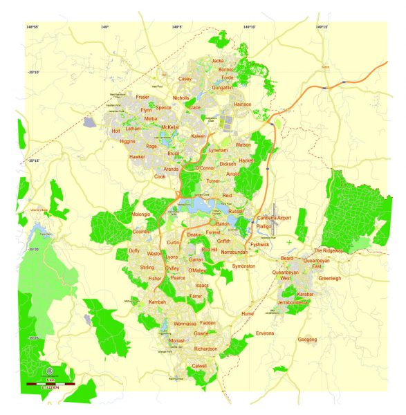 Free Printable Map Canberra, Australia, exact vector street map, fully editable Adobe Illustrator, Adobe PDF, SVG, G-View Level 12 (5000 meters scale), full vector, scalable, editable, text format names