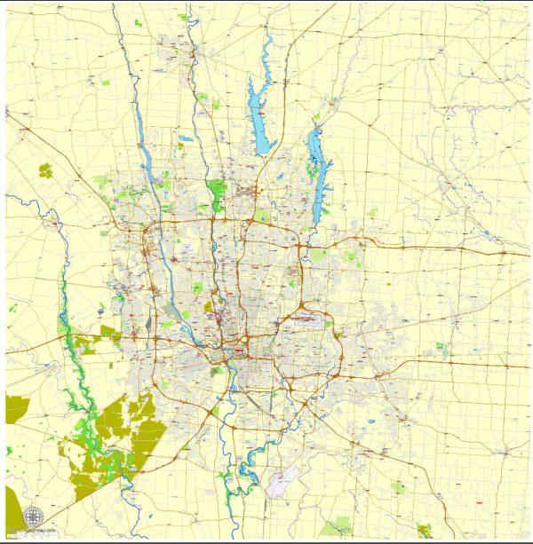 Columbus OH PDF Map exact vector City Plan V.23.11. Printable Street Map editable Adobe PDF