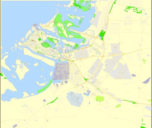 Printable Map Abu Dhabi, United Arab Emirates, exact vector street map, V17.11, fully editable, Adobe Illustrator, G-View Level 17 (100 meters scale), full vector, scalable, editable, text format of street names, 6 Mb ZIP.