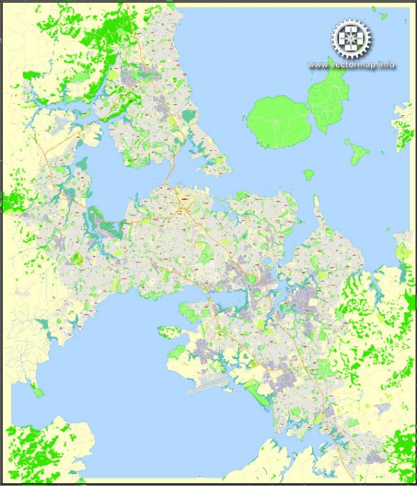 Auckland, New Zealand, Printable Map, exact vector street map, G-View fully editable, Adobe Illustrator, V3.11, Level 17 (100 meters), full vector, scalable, editable, text format street names, 10 Mb ZIP.