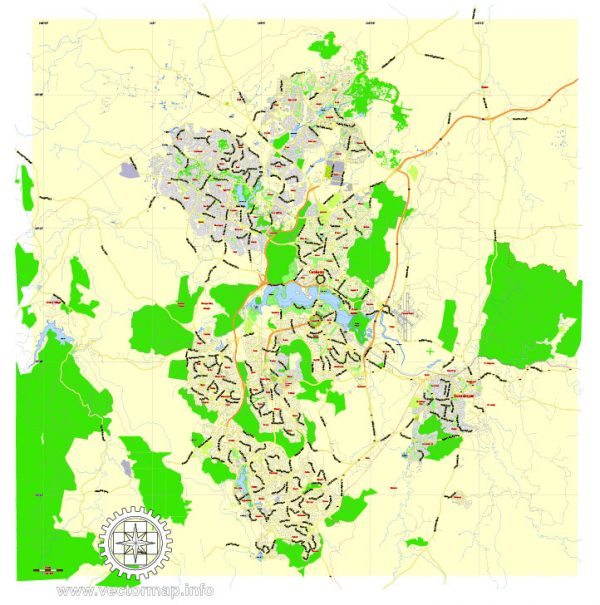 Printable Map Canberra, Australia, exact vector street map, V27.11, fully editable, Adobe Illustrator, G-View Level 13 (2000 meters scale), full vector, scalable, editable, text format of street names, 2 Mb ZIP.