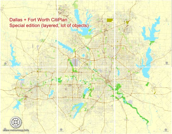 Printable Map Dallas + Fort Worth TX, US, exact vector street CityPlan map in 6 parts, V.29.11. fully editable, Adobe Illustrator, full vector, scalable, editable text format of street names, 45 Mb ZIP.