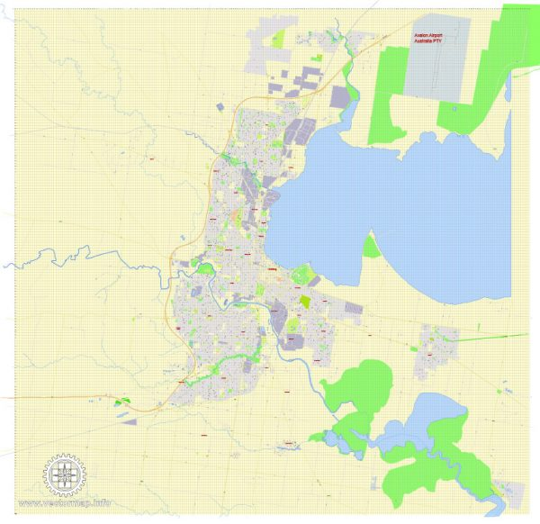 Printable Map Geelong, Australia, exact vector street map, V17.11, fully editable, Adobe Illustrator, G-View Level 17 (100 meters scale), full vector, scalable, editable, text format of street names, 3 Mb ZIP.