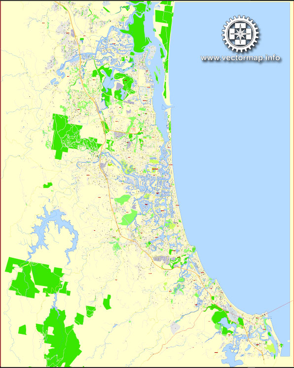 Printable Map Gold Coast, Australia, exact vector street map, V17.11, fully editable, Adobe Illustrator, G-View Level 17 (100 meters scale), full vector, scalable, editable, text format of street names, 6 Mb ZIP.