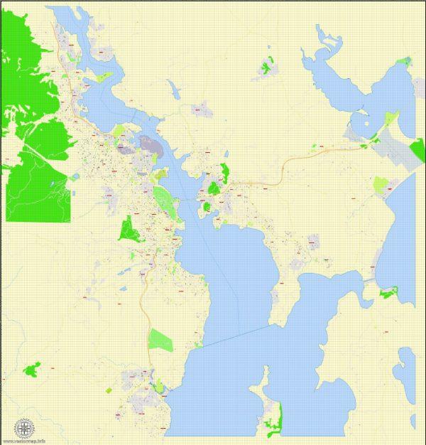 Printable Map Hobart, Tasmania, Australia, exact vector street map, V29.11, fully editable, Adobe Illustrator, G-View Level 17 (100 meters scale), full vector, scalable, editable, text format of street names, 4 Mb ZIP.