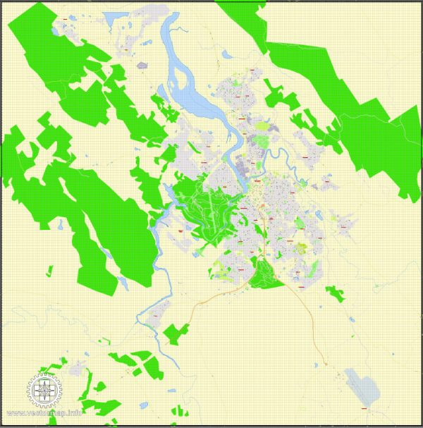 Printable Map Launceston, Australia, exact vector street map, V29.11, fully editable, Adobe Illustrator, G-View Level 17 (100 meters scale), full vector, scalable, editable, text format of street names, 2 Mb ZIP.