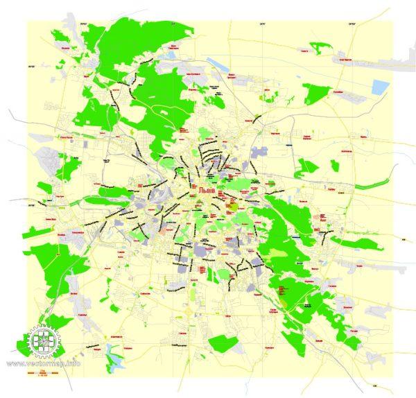 Free vector map Lviv Ukraina