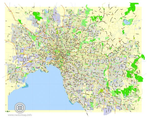 Printable Map Melbourne, Australia, exact vector street map, V27.11, fully editable, Adobe Illustrator, G-View Level 13 (2000 meters scale), full vector, scalable, editable, text format of street names, 7 Mb ZIP.
