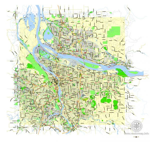 Printable Map Portland OR + Vancouver WA, exact vector street G-View Level 13 (2000 meters scale) map, fully editable, Adobe Illustrator