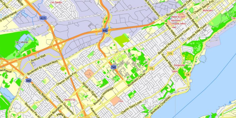 Quebec City, Canada, Printable Map, G-View Level 13 (2000 meters scale) Adobe Illustrator Map, fully editable, 4 Mb ZIP.