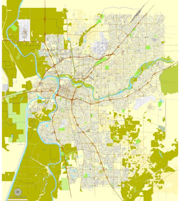 Printable Map Sacramento, California, exact vector street City Plan map v.02.11, fully editable, Adobe Illustrator, full vector, scalable, editable text format of street names, 73 Mb ZIP.
