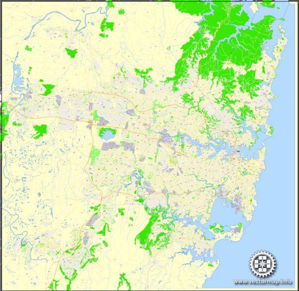 Printable Map Sydney, Australia editable Layered Adobe Illustrator