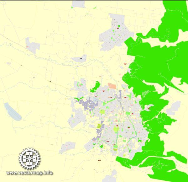 PDFMap Toowoomba, Australia, exactvector street map Editable City Plan