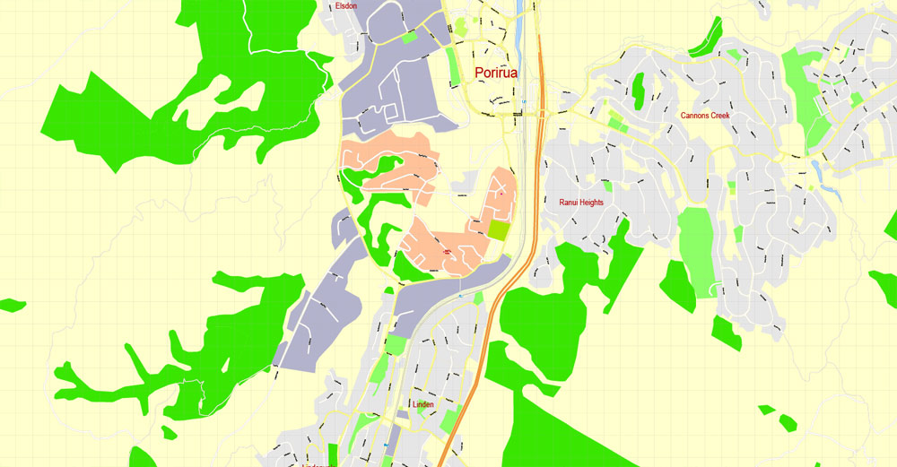 Wellington PDF Map New Zealand exact detailed vector Street Map editable City Plan Adobe PDF
