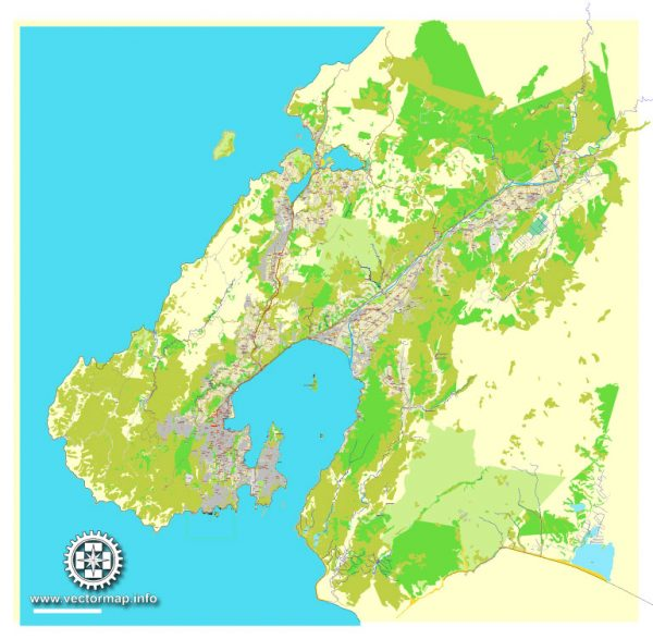 Printable Map Wellington, New Zealand, exact vector street City Plan map v.03.11, fully editable, Adobe Illustrator, full vector, scalable, editable text format of street names, 13 Mb ZIP.