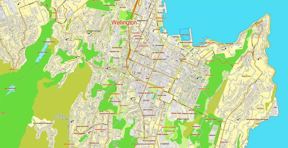Wellington Printable Map, New Zealand, exact vector street City Plan map v.03.11, fully editable, Adobe Illustrator
