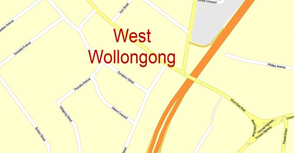 Street map Wollongong Australia PDF