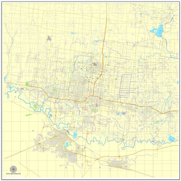 MCallen pdf map, Texas, US vector street City Plan map, fully editable, Adobe PDF, V3.10