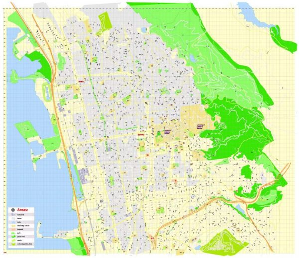 Printable Map University of California Berkeley, Berkeley CA, US, exact vector street G-View Level 17 (100 meters scale) map, V.21.12. fully editable, Adobe Illustrator, full vector, scalable, editable text format of street names, 2 Mb ZIP.