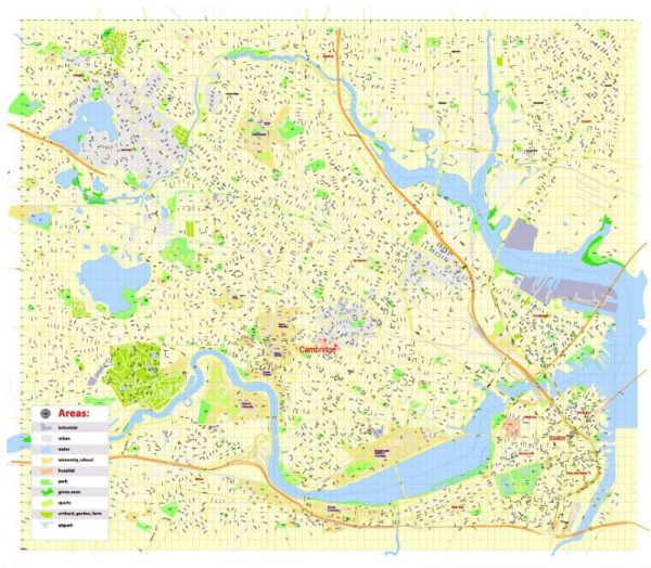 Printable Map Harvard University Cambridge MA, US, exact vector street G-View Level 17 (100 meters scale) map, V.21.12. fully editable, Adobe Illustrator, full vector, scalable, editable text format of street names, 3 Mb ZIP.