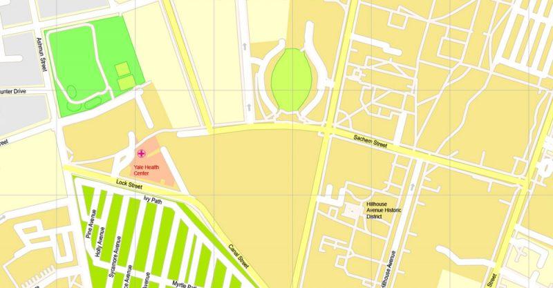 Pdf map Yale University New Haven Connecticut SVG