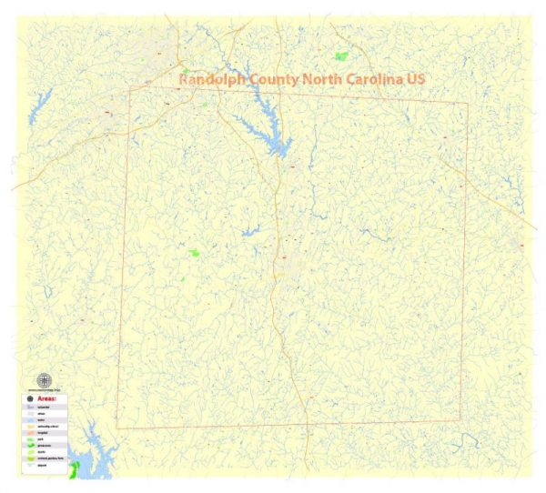 Printable Map Randolph County, North Carolina, US, exact vector street G-View Level 17 (100 meters scale) map, V.21.12. fully editable, Adobe Illustrator, full vector, scalable, editable text format of street names, 10 Mb ZIP.