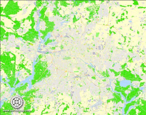 Berlin Map Vector Germany exact Printable City Plan 100 meters scale V.12.12 editable Street Map Adobe Illustrator