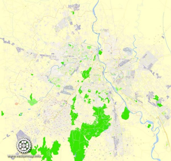 Delhi Printable Map, India, exact vector street G-View Level 17 (100 meters scale) map, V.14.12. fully editable, Adobe Illustrator