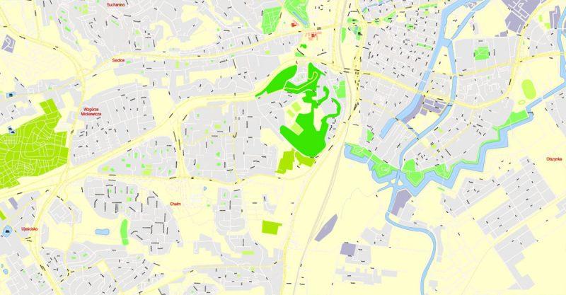Pdf map Gdansk Sopot Gdynia Poland