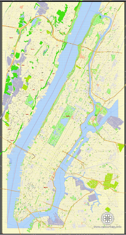 Printable Map Manhattan, New York, exact vector street G-View Level 17 (100 meters scale) map, V.08.12. fully editable, Adobe Illustrator, full vector, scalable, editable text format of street names, 4 Mb ZIP.