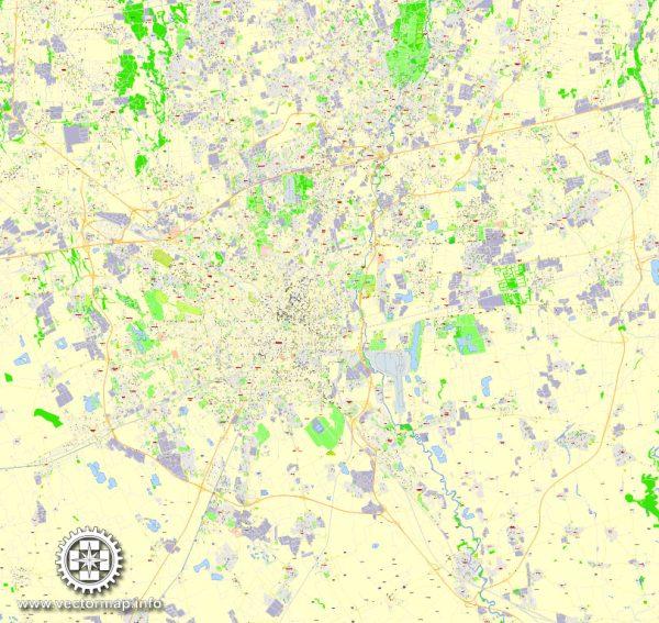 Milan Map Vector Italy exact detailed 100 meters scale City Plan editable Adobe Illustrator Street Map