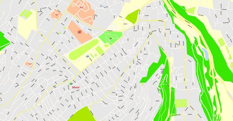 Printable Map Rouen metro area, France, exact vector street G-View Level 17 (100 meters scale) map, V.12.12. fully editable, Adobe Illustrator, full vector, scalable, editable text format of street names, 4 Mb ZIP.