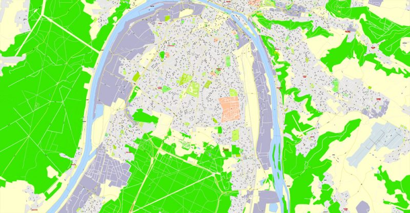 Rouen metro area PDF Map, France, exact vector street G-View Level 17 (100 meters scale) map, V.12.12. fully editable, Adobe PDF