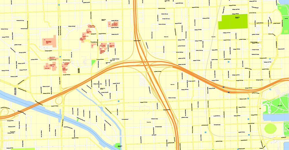 miami printable map, florida, us, exact vector street g
