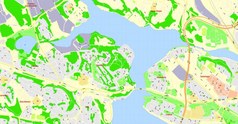 Printable Map Stockholm, Sweden, exact vector street G-View City Plan Level 17 (100 meters scale) map, V.08.01. fully editable Adobe Illustrator, full vector, scalable, editable text format of street names, 23 Mb ZIP.