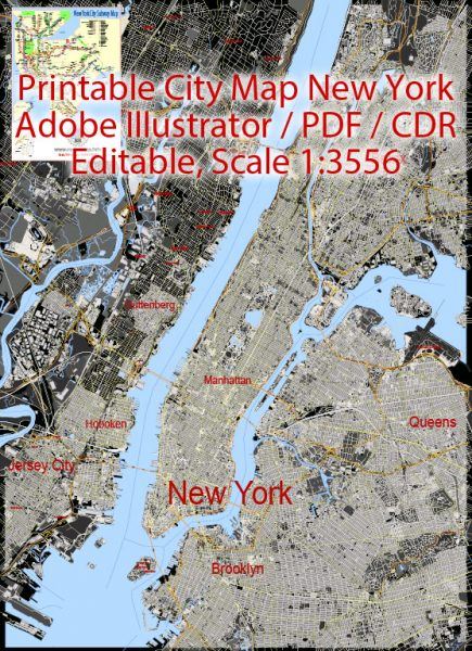 Printable Vector Map New York City US, exact vector City Plan all Buildings scale 1:3556, full editable, Adobe Illustrator Street Maps, text format all names, 33 mb ZIP