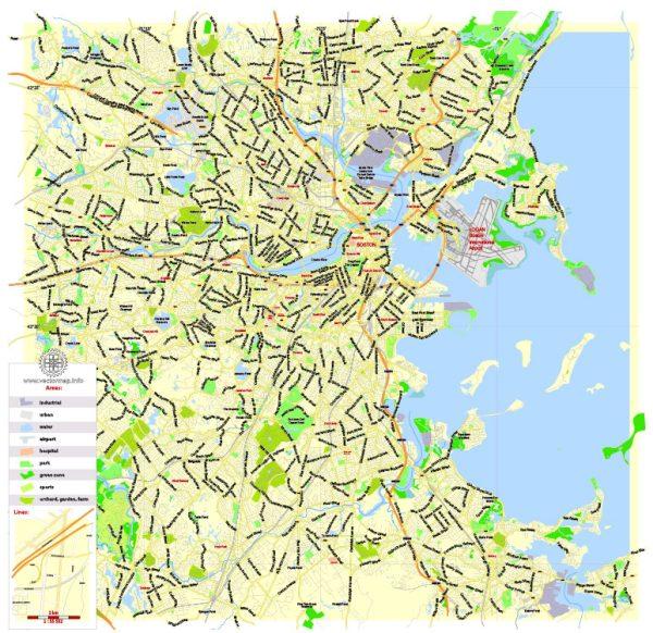 Printable Map Boston, Massachusetts, US, exact vector street G-View Plan City Level 17 (2000 meters scale) map, V.05.02. fully editable, Adobe Illustrator