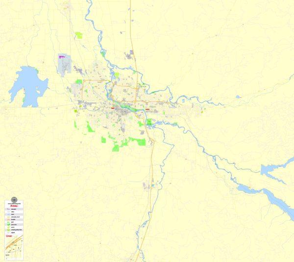 Printable Map Eugene + Springfield Oregon, US, exact vector street G-View Level 17 (2000 m scale) map, V.11. fully editable, Adobe Illustrator