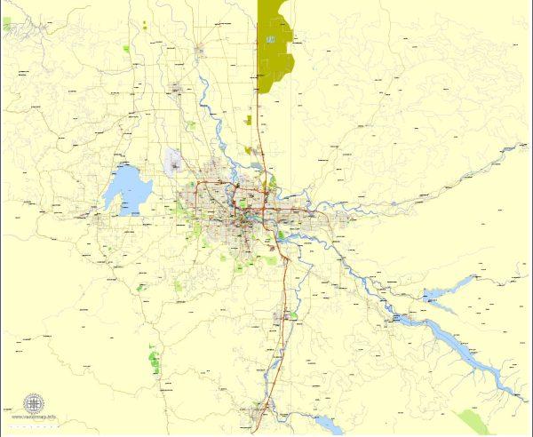 Printable Map Eugene + Springfield Oregon, US, exact vector street City Plan Layered map, V.09. fully editable, Adobe Illustrator